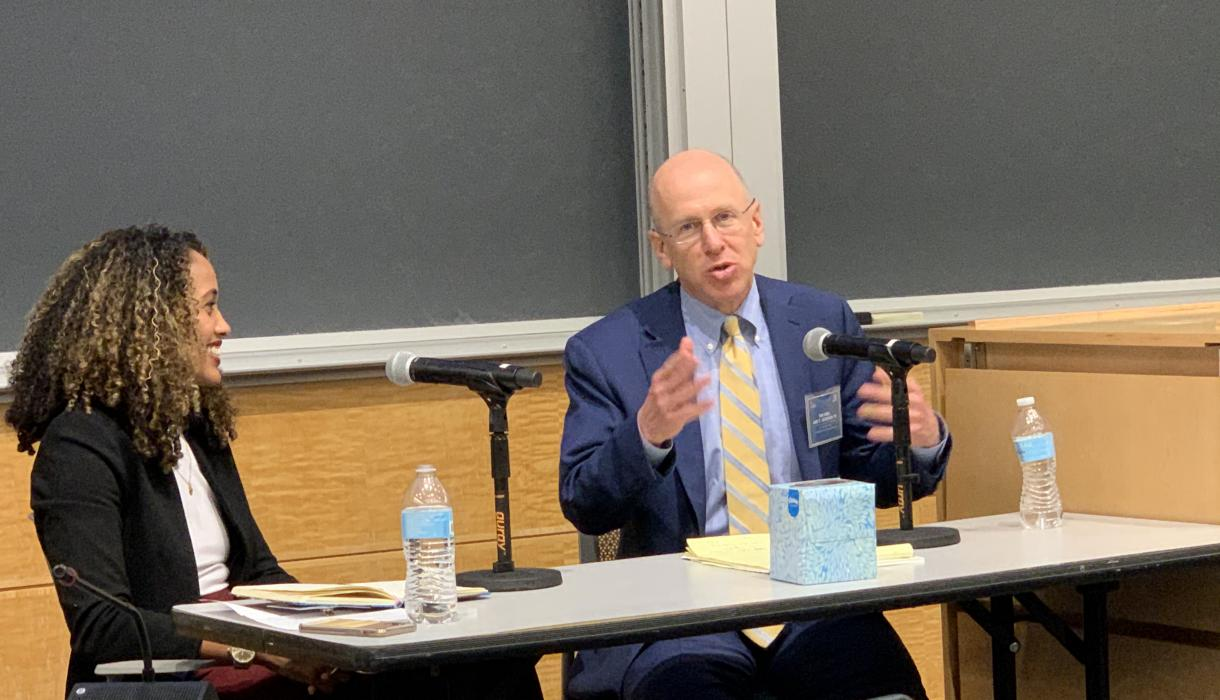Judge Leo T. Sorokin ''91 and Alexis Hoag, practitioner-in-residence at the Eric H. Holder Jr. Initiative for Civil and Political Rights, discuss restorative justice.