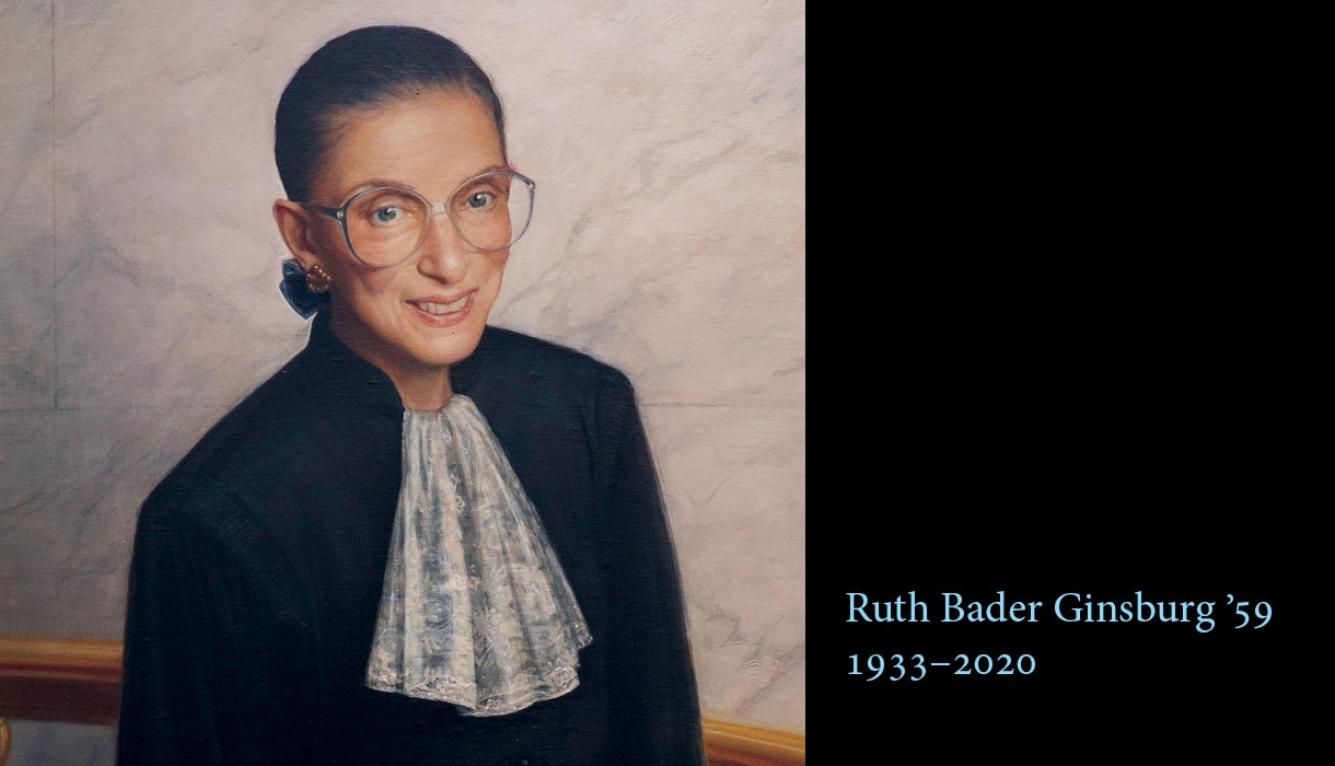 "A portrait of Ruth Bader Ginsburg that reads ""Ruth Bader Ginsburg '59 1933-2020"""