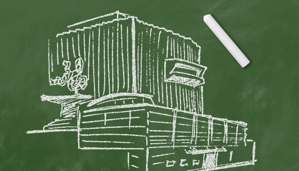 Chalk drawing of Jerome Greene Hall