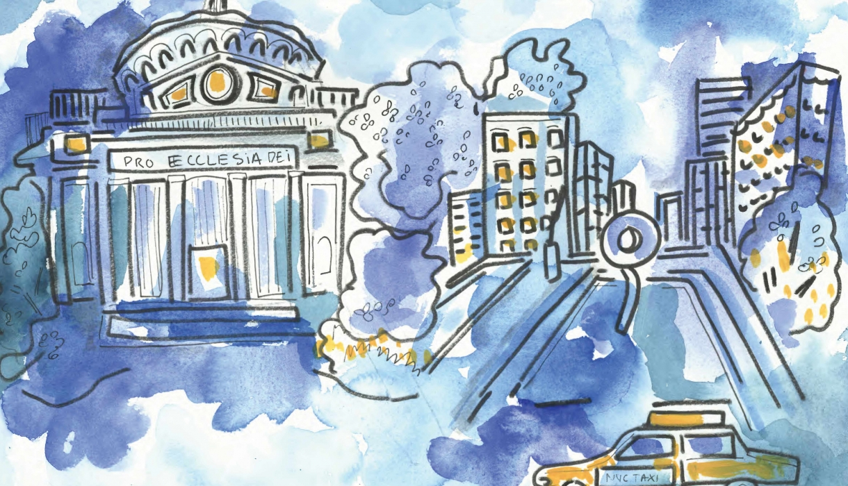 Watercolor painting of Low Library, Revson Plaza, and yellow cab by Lindsey Jones