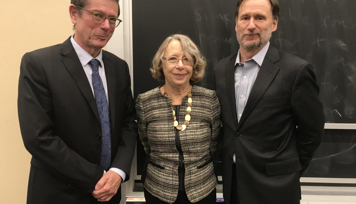 Ivan Simonovic with Lori Damrosch, Hamilton Fish Professor of International Law and Diplomacy, and Michael Doyle, University Professor, co-directors of the Center on Global Governance.