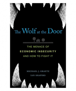 The Wolf at the Door book cover, with wolf teeth on the top and bottom