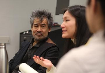 Playwright David Henry Hwang and novelist Anelise Chen speaking to the Asian American History and the Law reading group