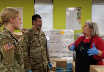 Emily Drake '22 Working At A Food Bank As A Member Of The National Guard