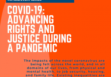 Orange poster of COVID-19: Advancing Rights and Justice During a Pandemic