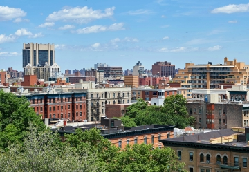 Morningside Heights and Harlem neighborhood rooftops seen from Columbia
