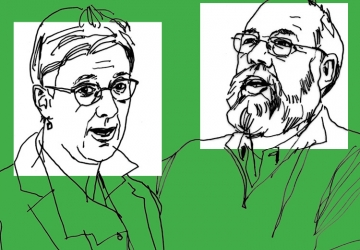Line art drawing of professors Katharina Pistor and Michael Graetz on a green background