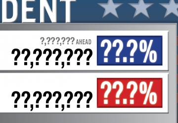 Election night vote-count graphic with question marks instead of numbers
