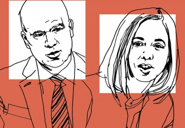 Line art drawing of Kathryn Judge and Peter Conti-Brown