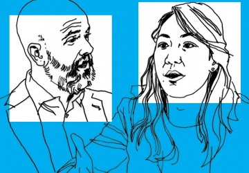 A line art drawing of Ed Morrison and Kate Waldock on a blue background