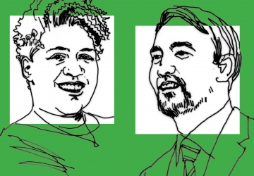 Line art drawing of professors Lynnise Pantin and Tim Wu on a green background