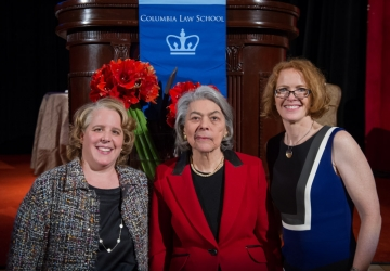 2015 Medal for Excellence recipients Roberta A. Kaplan '91 and U.S. Senior District Judge Miriam Goldman Cedarbaum '53 with Dean Gillian Lester, right