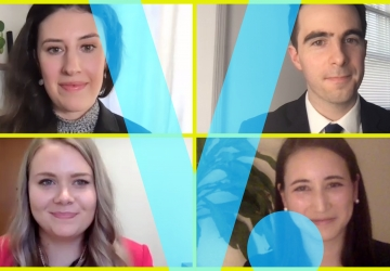 2021 Harlan Fiske Stone Moot Court Competitors on Zoom with a blue V superimposed