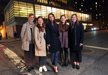 Professor Brett Dignam (left), along with a team of clinic participants who recently helped an incarcerated woman win parole. From left to right: Lillian Morgenstern '17, Amanda Johnson '17, Monique Hurley '17 LL.M., and Hannah Canham '16 LL.M.