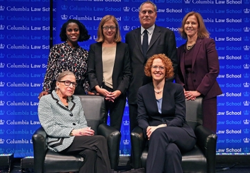 (First row) Justice Ginsburg and Dean Gillian Lester; (second row) Professor Olatunde Johnson, Professor Gillian Metzger, Lee Gelernt '88, and Nancy Northup '88