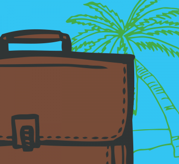 Illustrated brief case in front of a palm tree