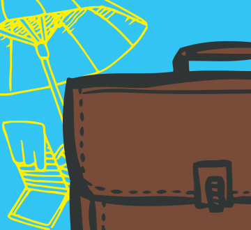 Illustrated briefcase in front of a chair and beach umbrella