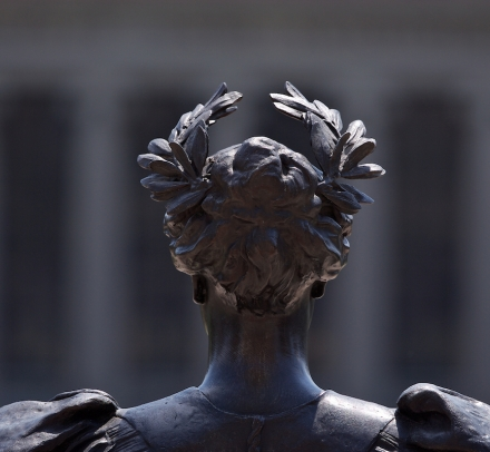 The back side of Alma Mater's head and crown
