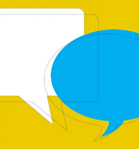 Yellow and blue speech bubbles