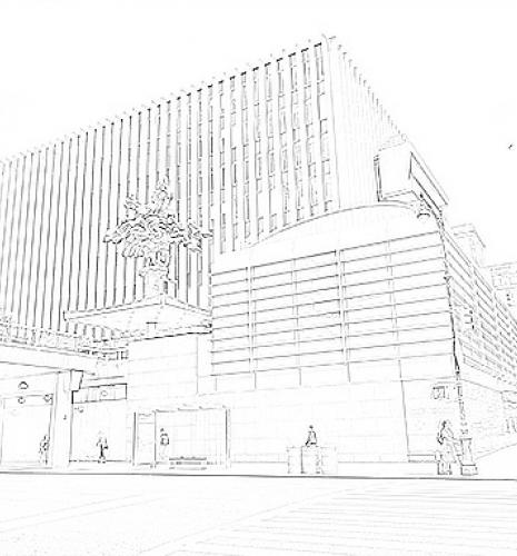A line art drawing of Jerome Greene Hall as seen from Amsterdam Avenue, for coloring in