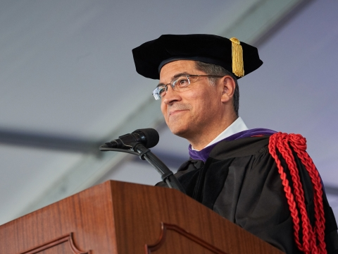 Xavier Becerra, the California Attorney General, in academic regalia