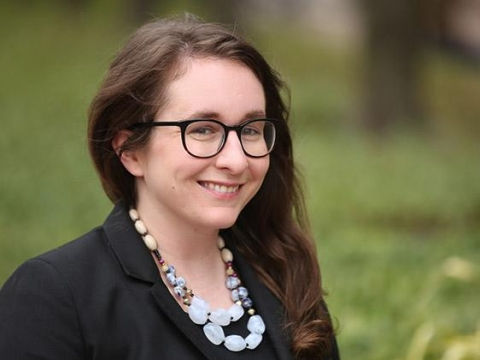 Columbia Law Review Editor in Chief 2019-2020 Mary Marshall '20 in glasses