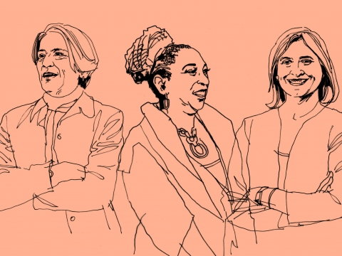 A line drawing of professors Elizabeth Scott, Kimberlé Crenshaw, and Colleen Shanahan