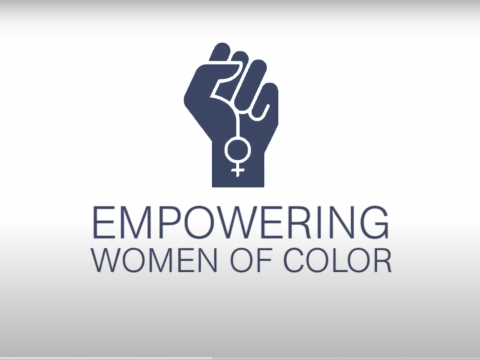 "Logo showing a fist holding a circle and a cross and the text ""Empowering Women of Color"""