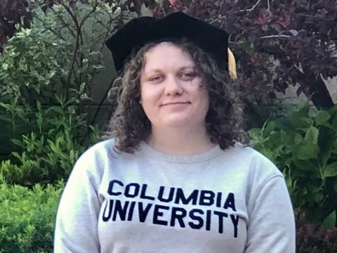 Elizabeth Hayden '20 wears a Columbia University sweatshirt with her graduation cap.
