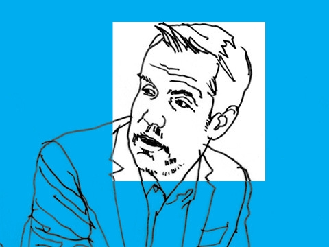 Line art of professor Eric Talley on a blue background