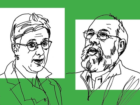 Line drawings of professors Katharina Pistor and Michael Graetz on a green background