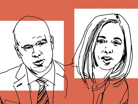 A line drawing of Professor Kathryn Judge and Peter Conti-Brown on an orange background