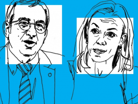 Line art drawing of professors Petros Mavroidis and Anu Bradford on a blue background