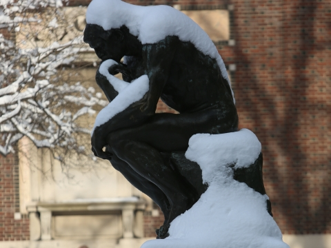 "The ""Thinker"" by Rodin in the the snow"