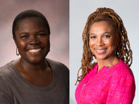 Side-by-side image of Kimberly Mutcherson '97 and Professor Kimberlé Crenshaw
