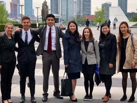 Mediation Clinic students pose outside the United Nations.
