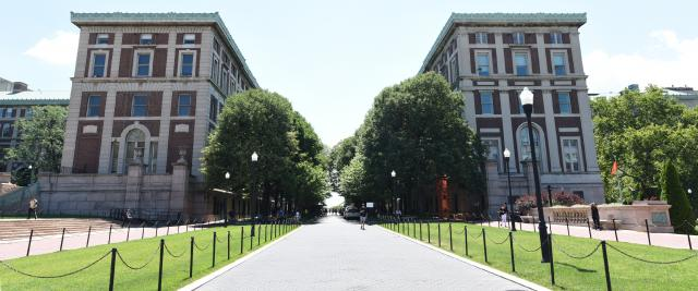Kent and Hamilton Halls rise on either side of College Walk.