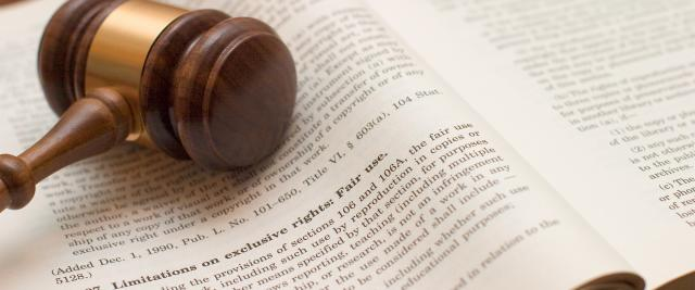 A gavel lies on top of an open legal dictionary.