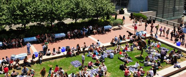 Students picnic on Revson Plaza seen from above.
