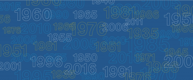 A number of different graduating years from the 20th and 21st century on a blue background