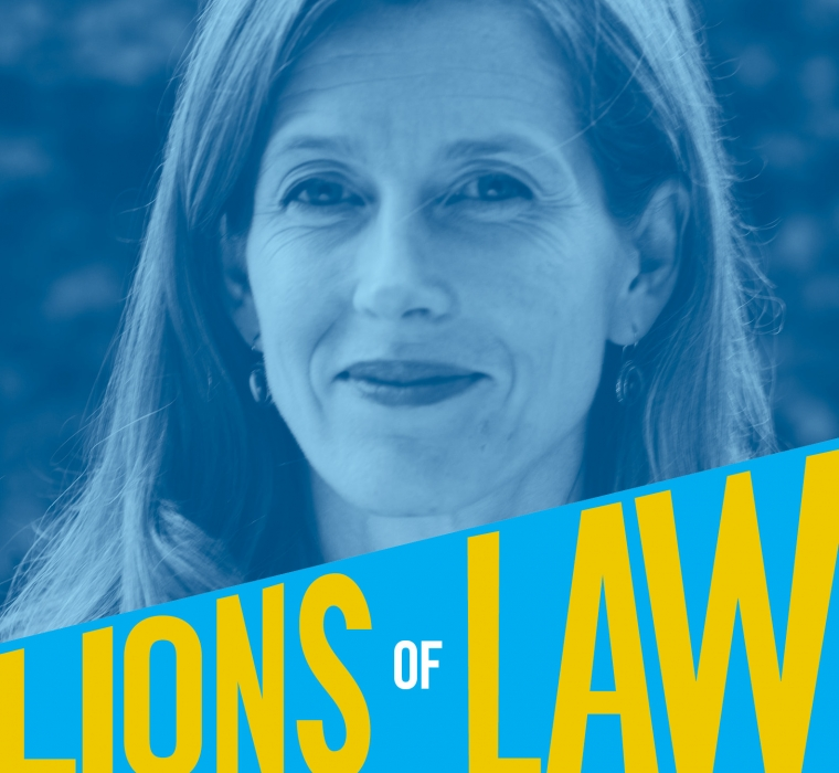 Headshot of Karenna Gore '00 that also reads Lions of Law