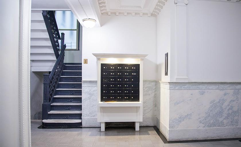 The mailboxes in the lobby of a typical Columbia Law apartment