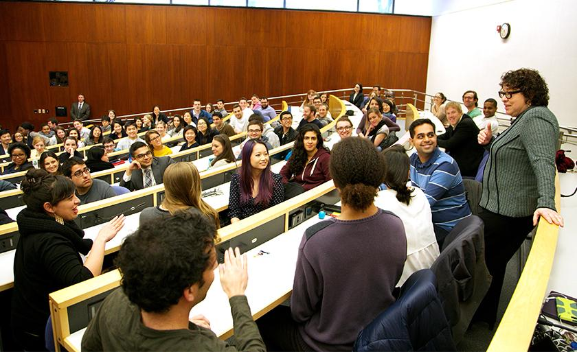 Justice Sonia Sotomayor speaks with students in a lecture hall.