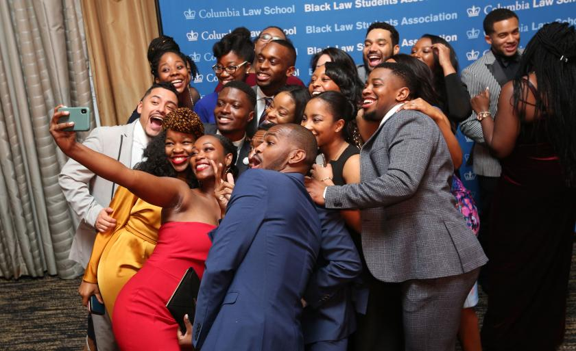 Students pose for a group selfie at the 26th Annual Paul Robeson Gala.