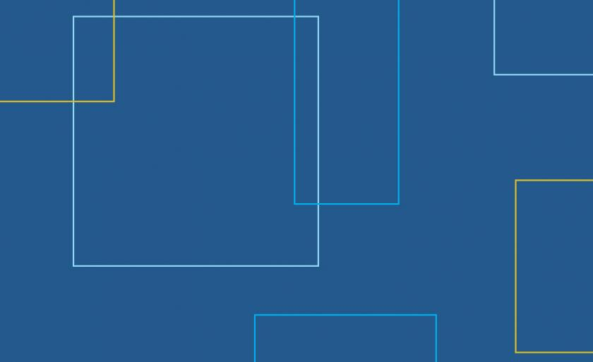 Blue and yellow square outlines on a dark blue field