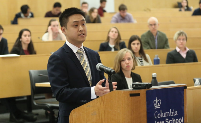 A student competes at the annual Harlan Fiske Stone Moot Court Competition