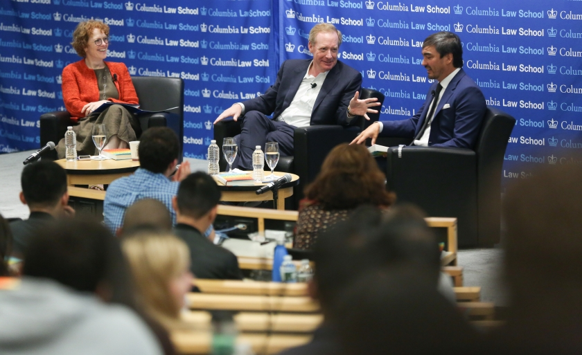 Dean Gillian Lester, Microsoft President Brad Smith '84, and Professor Tim Wu discuss Smith's new book on October 1 at the Law School, as part of the Dean's Distinguished Lecture Series.