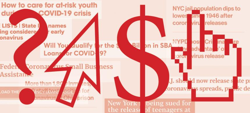 Graphic showing question mark, arrow, dollar sign, pointing finger over headlines about helping people affected by COVID-19