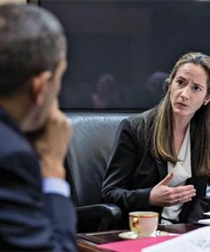 Avril Haines with President Obama in the Situation Room, 2013