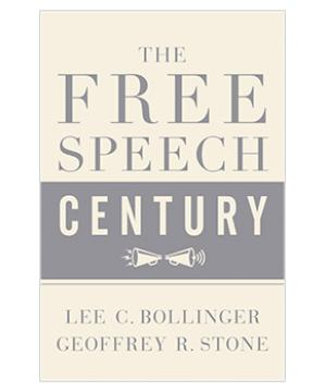 "Cover of the book ""The Free Speech Century,"" featuring two megaphones"